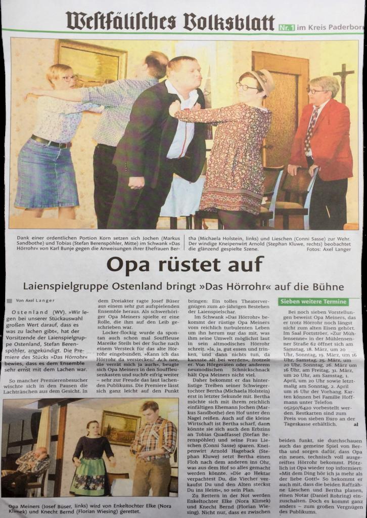 Premierenbericht des Westfälischen Volsblatts vom 13.03.2017